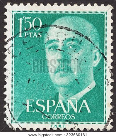 Spain - Circa 1955: Stamp Printed By Spain, Shows General Francisco Franco, Who Ruled Over Spain As
