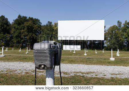 Lonely Loud Speaker For An Old Time Drive-in Movie Theater. The Speaker Would Hang From Your Car's D
