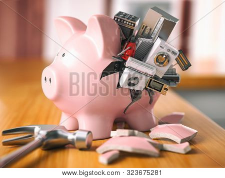 Piggy bank and appliances. Savings to buy home appliances. 3d illustration