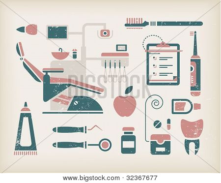 Vector set of dentist icons and teeth care poster