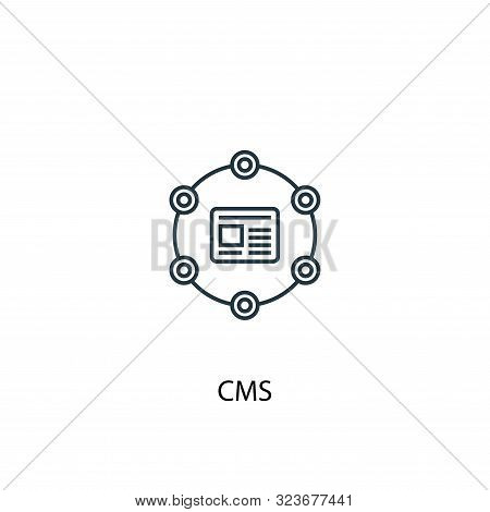 Cms Concept Line Icon. Simple Element Illustration. Cms Concept Outline Symbol Design. Can Be Used F