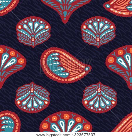 Seamless Pattern Floral Leaf Paisley Motif Persian Style. Arabesque Boteh Foulard Textile. Classic D