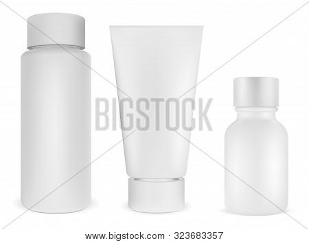 Cosmetic Bottle Package. White Plastic Product 3d Blank. Cream Container, Hair Shampoo, Beauty Care