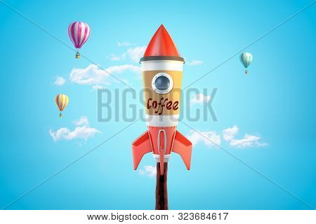 3d Rendering Of Toy Rocket Made Of Coffee Cup Going Up In Blue Sky With Hot Air Balloons In Backgrou