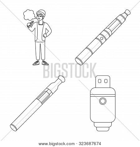 Isolated Object Of Nicotine And Filter Sign. Collection Of Nicotine And Pipe Stock Vector Illustrati