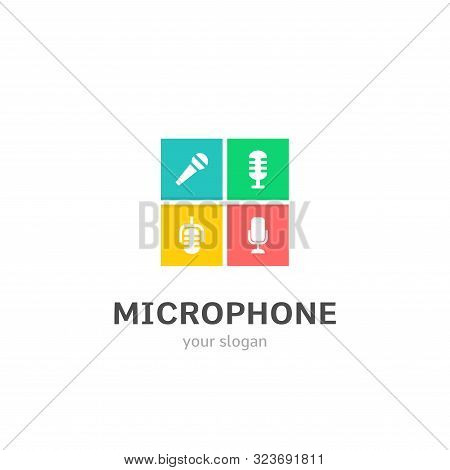 Microphone Icons Flat Style Logo Design With Mic, Megaphone, Recorder, Mike Icons. Trendy, Creative,
