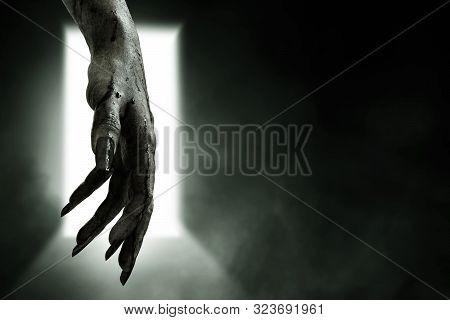 Bloody Zombie Hands On Dark Background, Halooween Theme