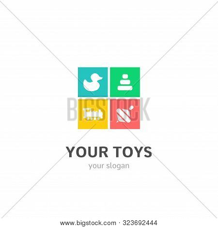 Your Toys Icons Flat Style Logo Design With Bathroom Ducky, Pyramid, Train, Whirligig Icons. Trendy,