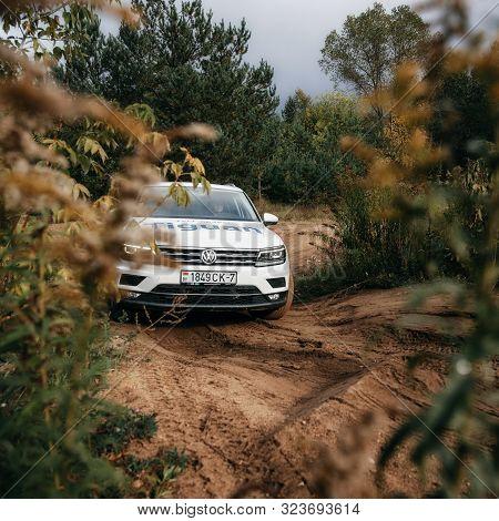 Minsk, Belarus - September 20, 2019: Volkswagen Tiguan 4x4 Rides Cross Country In Forest. Front View