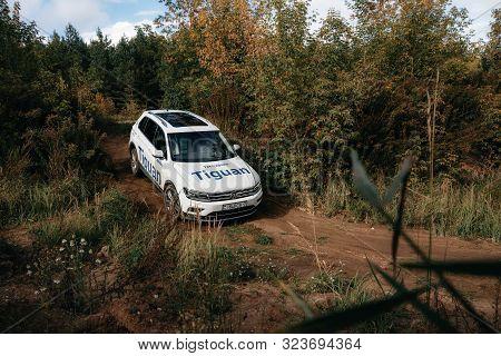 Minsk, Belarus - September 20, 2019: Volkswagen Tiguan 4x4 Rides Cross Country In Forest.