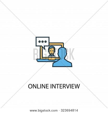 Online Interview Concept 2 Colored Icon. Simple Blue Element Illustration. Online Interview Concept