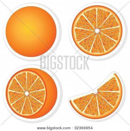 Set fresh orange fruits