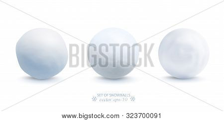 Set Of Snowballs Isolated On White Background . Snow Ball Ice Vector .new Year Banner .christmas.
