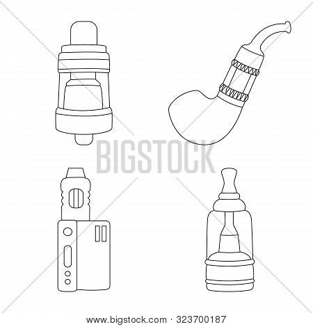 Vector Design Of Nicotine And Filter Symbol. Collection Of Nicotine And Pipe Stock Symbol For Web.