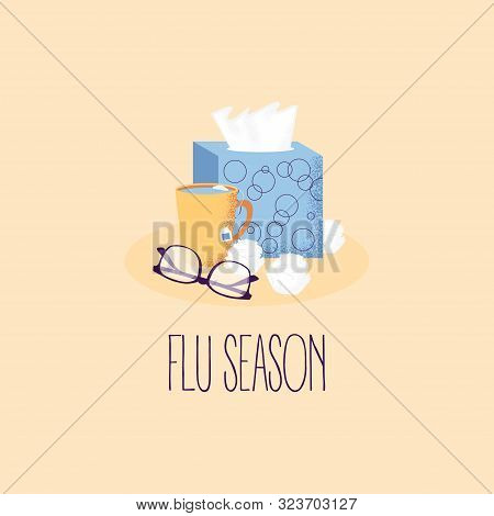 Winter Illness Season Design. Cold And Sick, Virus And Health, Flu Infection, Fever Disease, Sicknes