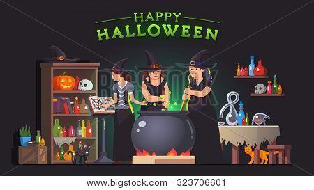Witches Stirring Poison Brew Potion In Cauldron