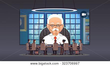 Directors Board People Talking To Ceo Via Video