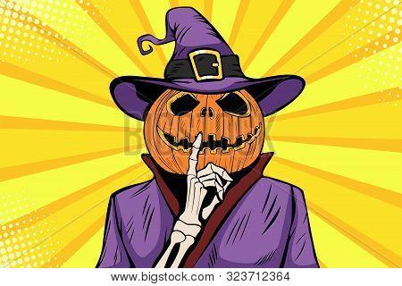 Halloween Pumpkin Character Make Silence Gesture. Comic Cartoon Pop Art Retro Holiday Party Vector I