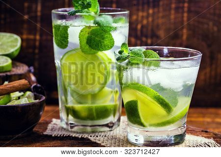 Mojito Is A White Rum-based Cocktail Made In Cuba. Tourist Drink Created In Havana. Alcoholic Drink