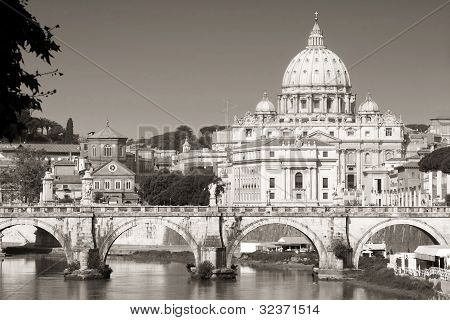 Vatican City From Ponte Umberto I In Rome, Italy