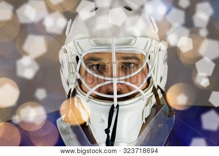 Detail Of A Male Face In A White Goalie Hockey Mask And  Round And Pentagon Lights.this Is A Detail
