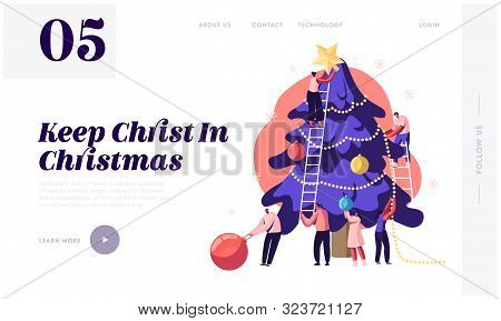 Happy Tiny People Decorate Huge Christmas Tree Website Landing Page. Friends Hanging Balls And Star