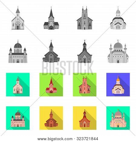 Vector Illustration Of Cult And Temple Sign. Set Of Cult And Parish Stock Vector Illustration.