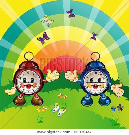 happy cartoon clock