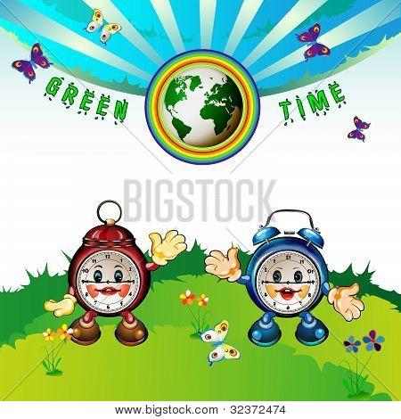 cartoon clocks with Erath