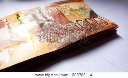 Nairobi, Kenya - September 18: A Bundle Of 1000 Kenya Bank Notes With A White Background Taken On Se