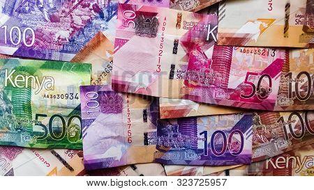 Nairobi, Kenya - September 18: Flat Lay Of Mixed Kenya Bank Notes Of Different Values Taken On Septe