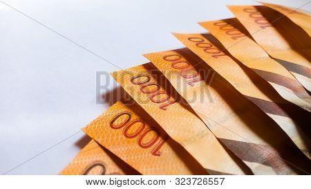 Nairobi, Kenya - September 18: The Back Side Of Several 1000 Kenya Bank Notes On White Taken On Sept