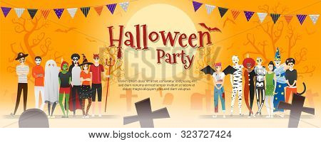 Happy Halloween Party , Group Of Teens In Halloween Costume Concept Standing Together On Graveyard B