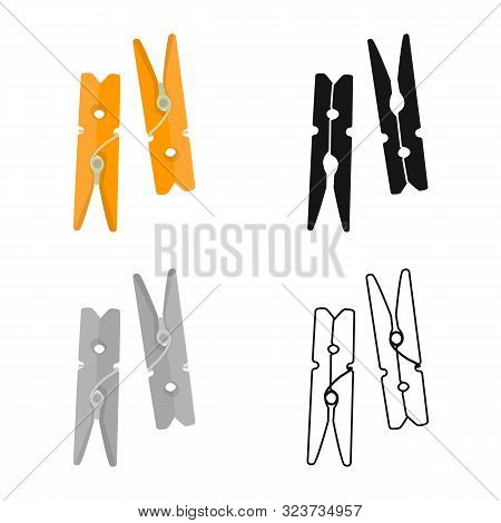 Vector Illustration Of Clothespin And Wood Logo. Set Of Clothespin And Colorful Stock Vector Illustr