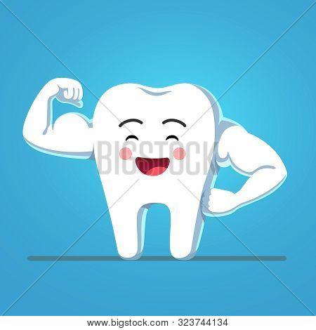 Funny Cartoon Tooth Showing Sturdy Enamel Biceps