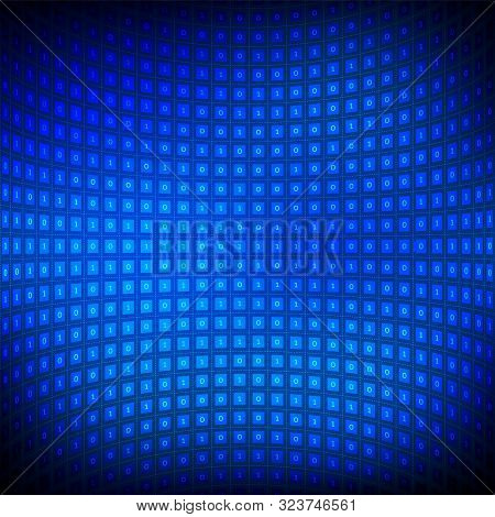 Digital Binary Code Background. Big Data And Programming Hacking, Deep Decryption And Encryption, Co