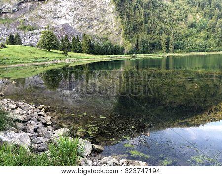 Alpine Lake Obersee In The Glarus Alps Mountain Massif And In The Glarnerland Tourist Region, Nafels
