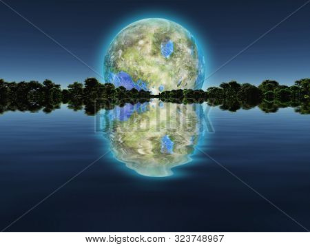 Surreal digital art. New Home. Green trees in the water. Giant terraformed moon in the sky. 3D rendering