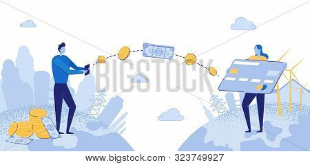 Online Payment Flat Cartoon Vector Illustration. Man Sending And Girl Receiving Money Wireless From