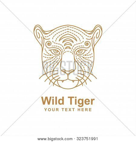 Tiger Head Line Art Design Isolated White Background. Tiger Icon Isolated On White Background From J