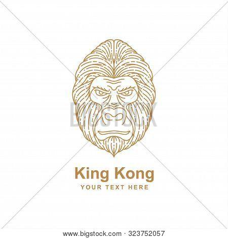 Gorilla Head Line Art Design Isolated White Background. Gorilla Icon Isolated On White Background Fr