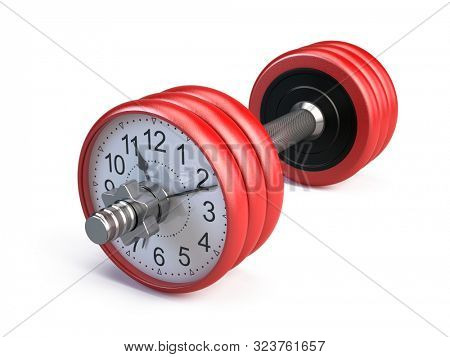 Red gym dumpbell with clock isolated on white - Time for gym concept. 3d rendering poster