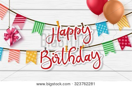 Happy Birthday Vector Greeting Background Design. Happy Birthday Paper Cut Word Hanging In Rope With