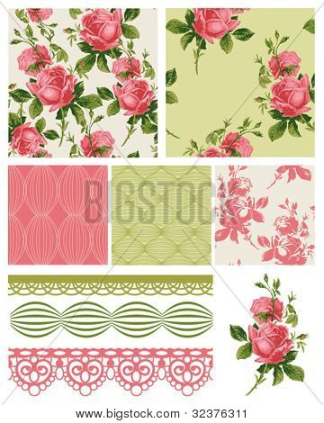 Vintage Shabby Chic Rose Seamless Patterns.  Use to create fabric projects such as quilting or home textiles.