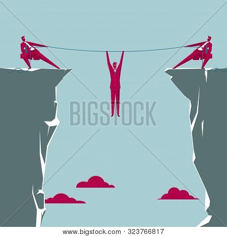 Teamwork To Rescue People Who Have Fallen Into The Abyss. Isolated On Blue Background.