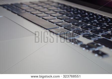 Close Up At Laptop Keyboard, Stock Photo