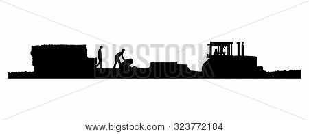 Eps8 Vector. Black And White Silhouettes Of A Tractor Pulling A Baler And Wagon In A Field Of Straw