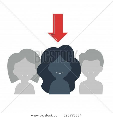Target Audience Selection Concept. An Arrow Indicates A Person. Identify An Audience For Positioning