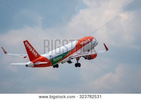 Zurich, Switzerland - July 19, 2018: EasyJet Airline Company airplane taking off. EasyJet Airline Company Limited is a British low-cost carrier airline headquartered at London Luton Airport