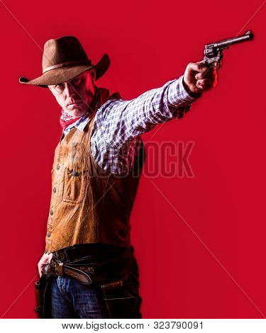 Man Wearing Cowboy Hat, Gun. West, Guns. Portrait Of A Cowboy. American Bandit In Mask, Western Man